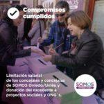 Limitación salarial de los concejales de SOMOS y donación del excendente a proyectos sociales y ONG