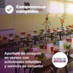 Apertura de colegios en verano con actividades infantiles y servicio de comedor