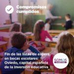 Fin de las listas de espera en becas escolares: Oviedo capital de la inversión ecucativa