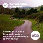 Aumento de un millón de euros del gasto en desbroces y mantenimiento del Ovideo rural